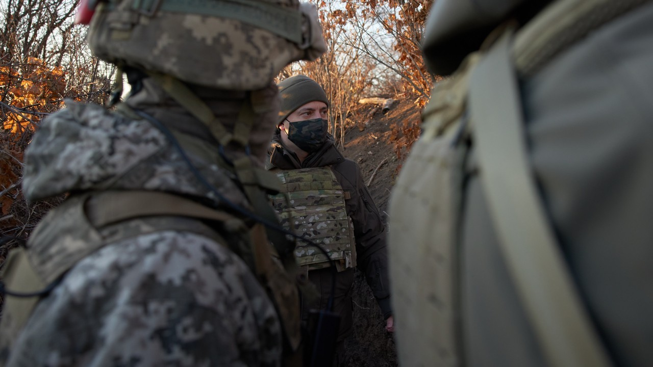 Photo: President Zelenskyy visits Ukrainian soldiers in the Donetsk Region. Credit: Office of the President of Ukraine