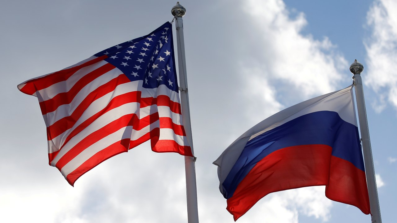 Photo: Russian and U.S. state flags fly near a factory in Vsevolozhsk, Leningrad Region, Russia March 27, 2019. Credit: REUTERS/Anton Vaganov/File Photo