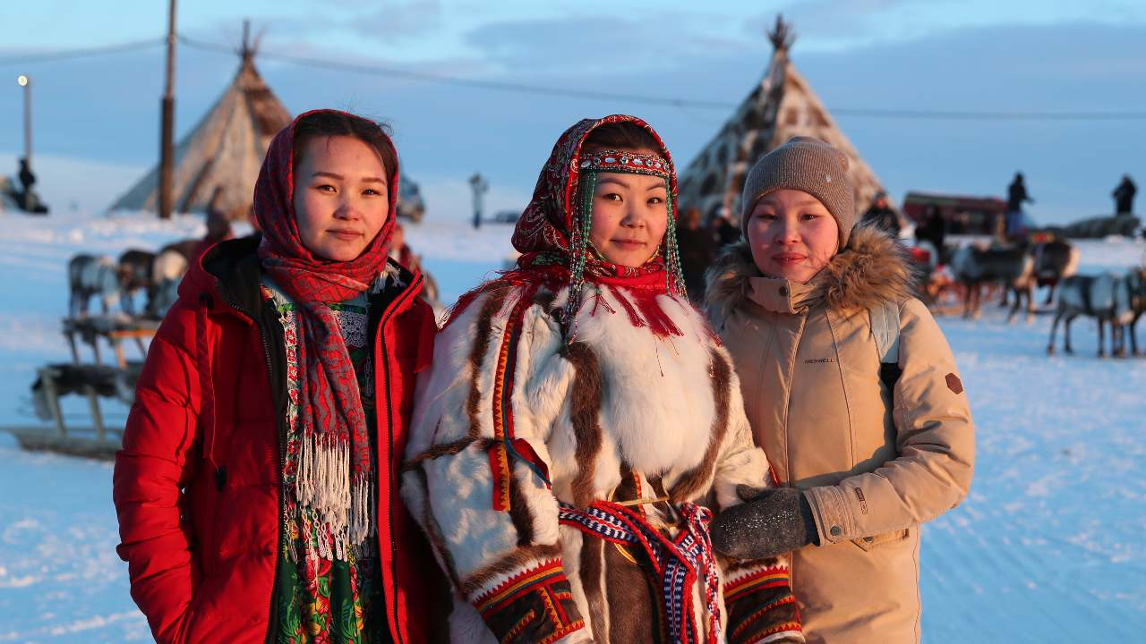 Photo: SALEKHARD, RUSSIA - MARCH 27, 2021: Women wear traditional costumes during celebrations of Reindeer Breeder Day, the main holiday of indigenous peoples of the Russian Extreme North, by the Polyabta River in Salekhard, the capital city of Yamalo-Nenets Autonomous Area in the north of West Siberia. Credit: Alexander Ryumin/TASS via Reuters