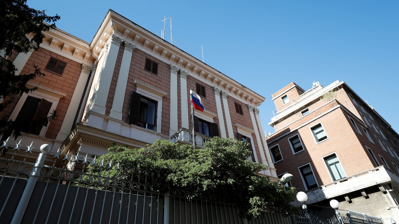 Photo: General view of the Russian Embassy after a Russian army official, who is accredited with the embassy, and an Italian navy captain were arrested on suspicion of spying, in Rome, Italy, March 31, 2021. Credit: REUTERS/Guglielmo Mangiapane