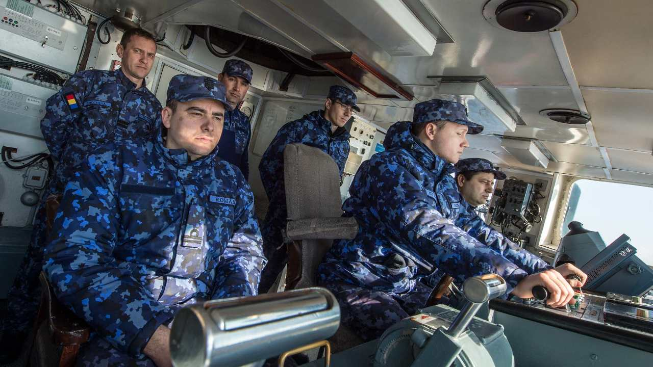 Photo: BLACK SEA (Feb 6, 2018) Romanian minesweeper ROS Lt. Lupu Dinescu conducts minesweeping operations of shore Constanta while taking part of SNMCMG2 Passex with Romanian Navy. SNMCMG2 led by HMS Enterprise is currently sailling in the Black Sea as part of NATO routine presence. SNMCMG2 consists of flagship Royal Navy survey ship HMS Enterprise, Romanian minesweeper ROS Lt. Lupu Dinescu and Turkish minehunter TCG Akcay. Credit: NATO/CPO FRAN C. Valverde