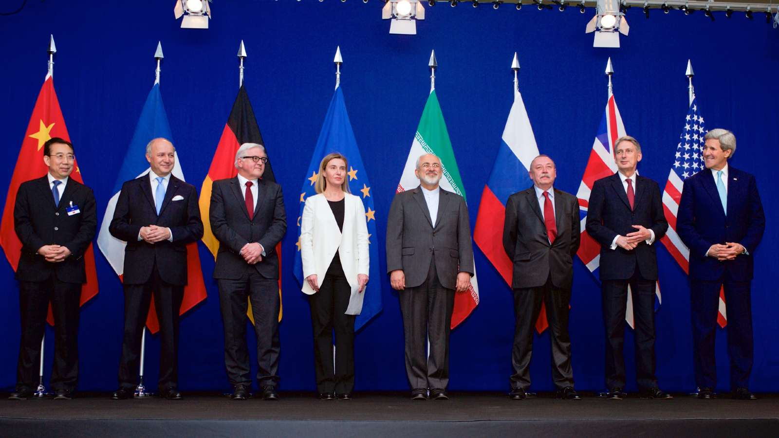 Photo: The ministers of foreign affairs and other officials from the P5+1 countries, the European Union and Iran while announcing the framework of a Comprehensive agreement on the Iranian nuclear programme. Credit: Wikimedia Commons