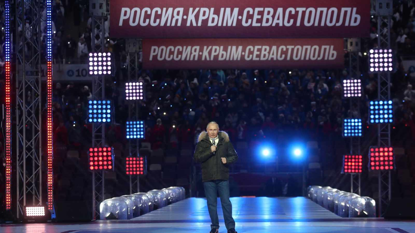 Photo: Vladimir Putin gave a speech at the festive event held at Luzhniki as part of the Days of Crimea in Moscow. March 18, 2021. Credit: Kremlin