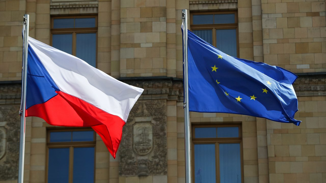 Photo: The flags of the Czech Republic and the European Union hoisted outside the Embassy of the Czech Republic in central Moscow. Credit: Mikhail Tereshchenko/TASS