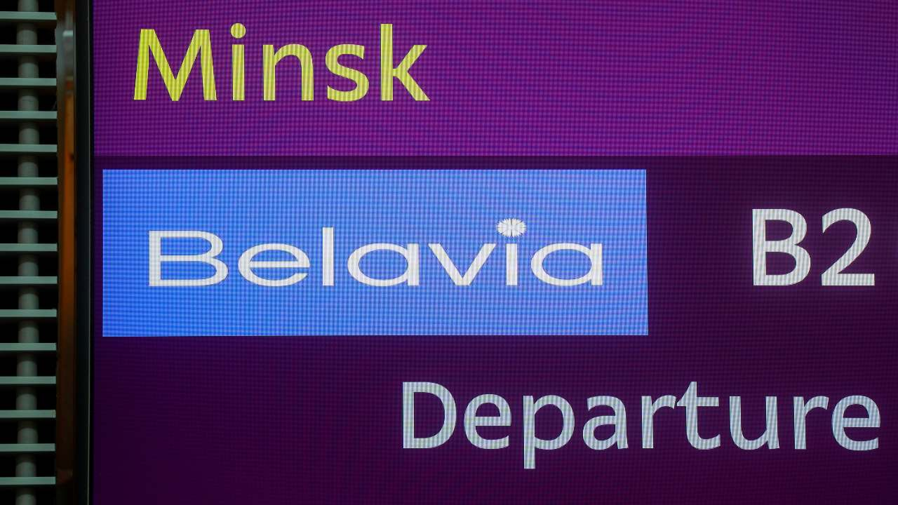 Photo: A view shows an information board during a check-in for a flight of Belavia Belarusian Airlines heading to Minsk, the last one before Ukraine stops air travel with Belarus following the arrest of dissident journalist Roman Protasevich, at Boryspil International Airport outside Kyiv, Ukraine May 25, 2021. Credit: REUTERS/Valentyn Ogirenko