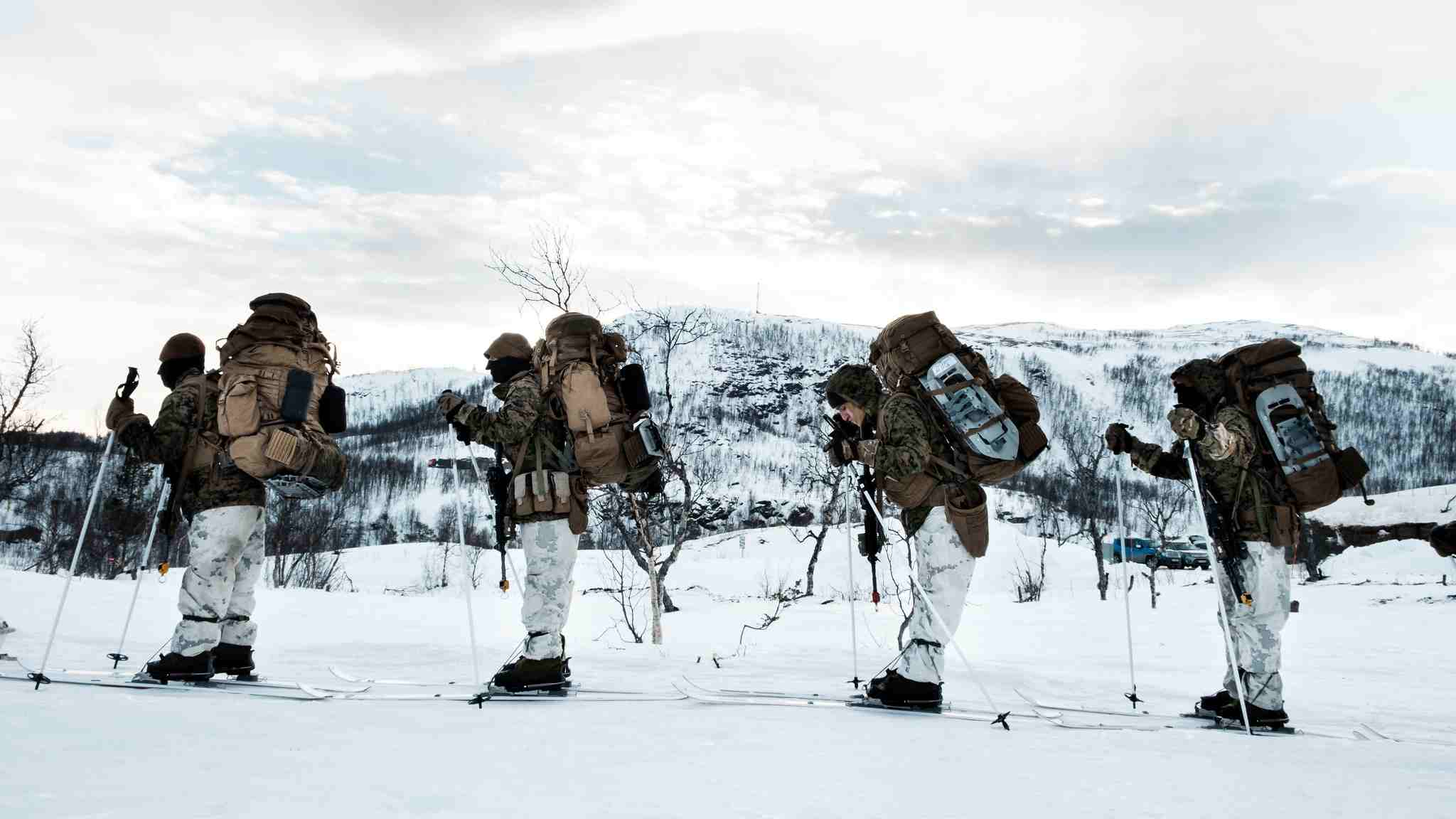 Photo: U.S. Marines traverse arctic terrain on skis near Moen, Norway as part of Exercise White Claymore in February 2018. During the exercise, Marines with Marine Rotational Force-Europe honed their winter warfare skills with UKRoyal Marines with 45 Commando.