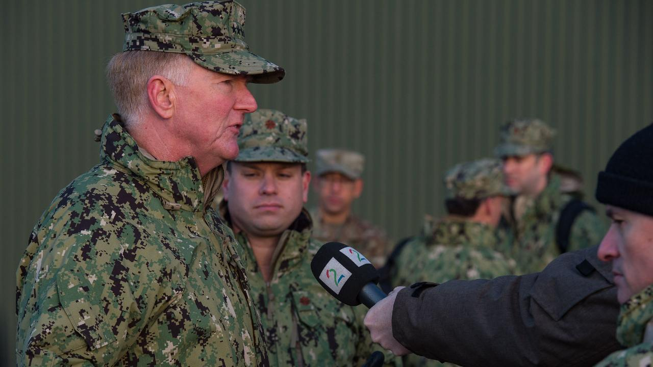 Admiral (ret.) James Foggo, Allied Joint Force Command Naples Commander, gives an interview to a media during the final press conference for Exercise TRIDENT JUNCTURE 2018 in Trondheim, Norway, on November 7 2018.