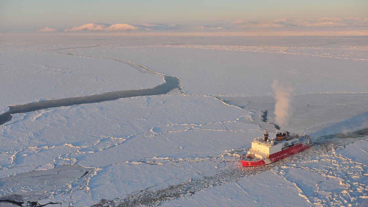 Photo: The Kigluaik Mountains are visible as the Coast Guard Cutter Healy breaks ice for the Russian tanker Renda near Nome Jan. 13, 2012. The Healy and crew are approximately seven nautical miles away from Nome. Credit: U.S. Coast Guard photo by Petty Officer 2nd Class Charly Hengen.