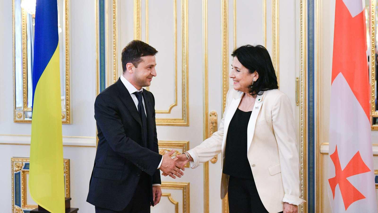 Photo: Volodymyr Zelensky with Salome Zourabichvili. Credit: Wikimedia Commons