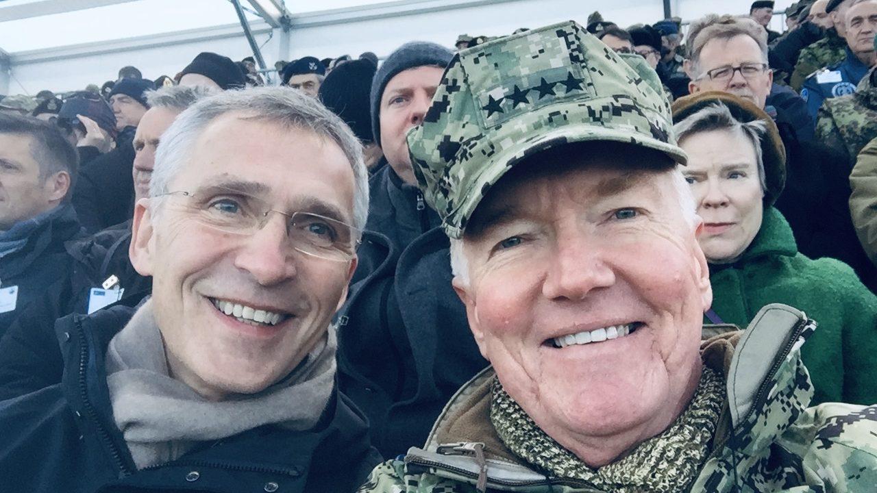Admiral (ret.) James Foggo (R) with NATO Secretary General Jens Stoltenberg (L) observing Trident Juncture 2018.