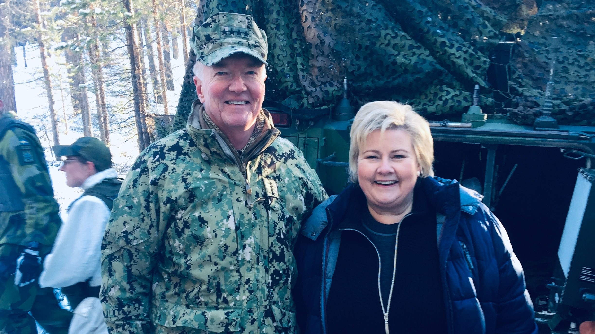 Admiral (ret.) James Foggo with Norwegian Prime Minister Erna Solberg during Trident Juncture 2018.
