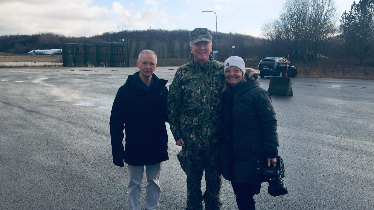 Producer Mary Walsh (R) and Reporter David Martin (L) filming 60 Minutes with Admiral (ret.) James Foggo (C) at Bodo Air Base in Northern Norway.