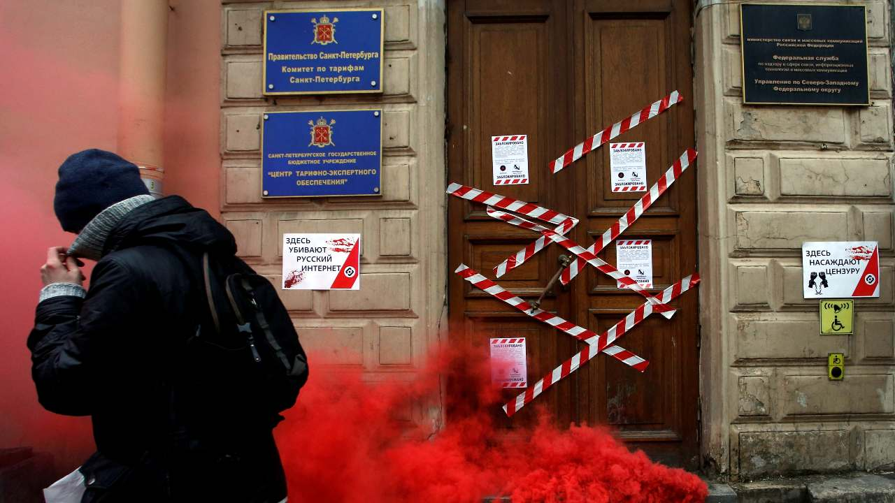 Photo: A protester walks away from the Roskomnadzor's office in central Saint Petersburg, Russia March 10, 2019. Credit: REUTERS/Anton Vaganov