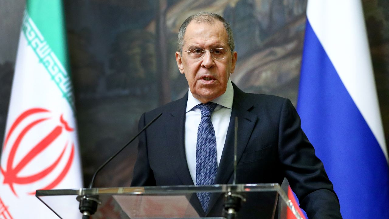 Photo: MOSCOW, RUSSIA - JANUARY 26, 2021: Russia's Foreign Minister Sergei Lavrov gives a press conference following a meeting with his Iranian counterpart Mohammad Javad Zarif at the Reception House. Russian Ministry of Foreign Affairs. Credit: TASS.