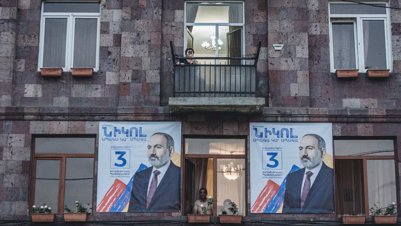 Photo: Election posters of Nikol Pashinyan, main candidate of the Civil Contract party for the parliamentary elections in Armenia. Credit: Diego Herrera / SOPA Images/Sipa USA