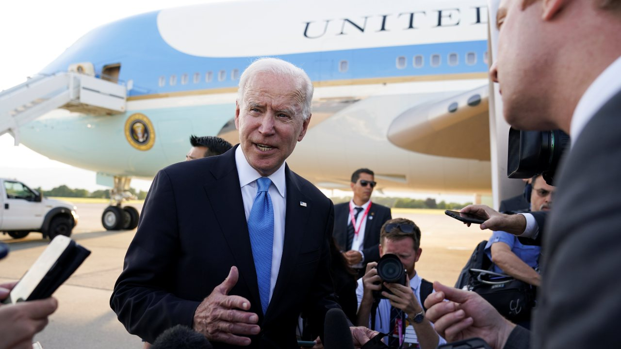Photo: U.S. President Joe Biden speaks to the media before boarding Air Force One at Geneva airport, as he leaves Geneva after the U.S.-Russia summit, Switzerland, June 16, 2021. Credit: REUTERS/Kevin Lamarque