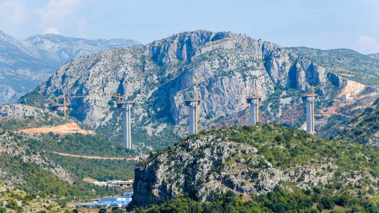 Photo: Construction of a viaduct in Montenegro. Credit: jbdodane