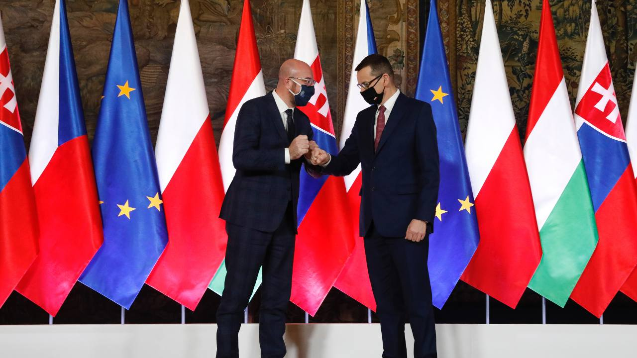 Photo: President Charles Michel (Left) and Prime Minister Mateusz Morawiecki at the 30th anniversary of Visegrad cooperation. Credit: European Council