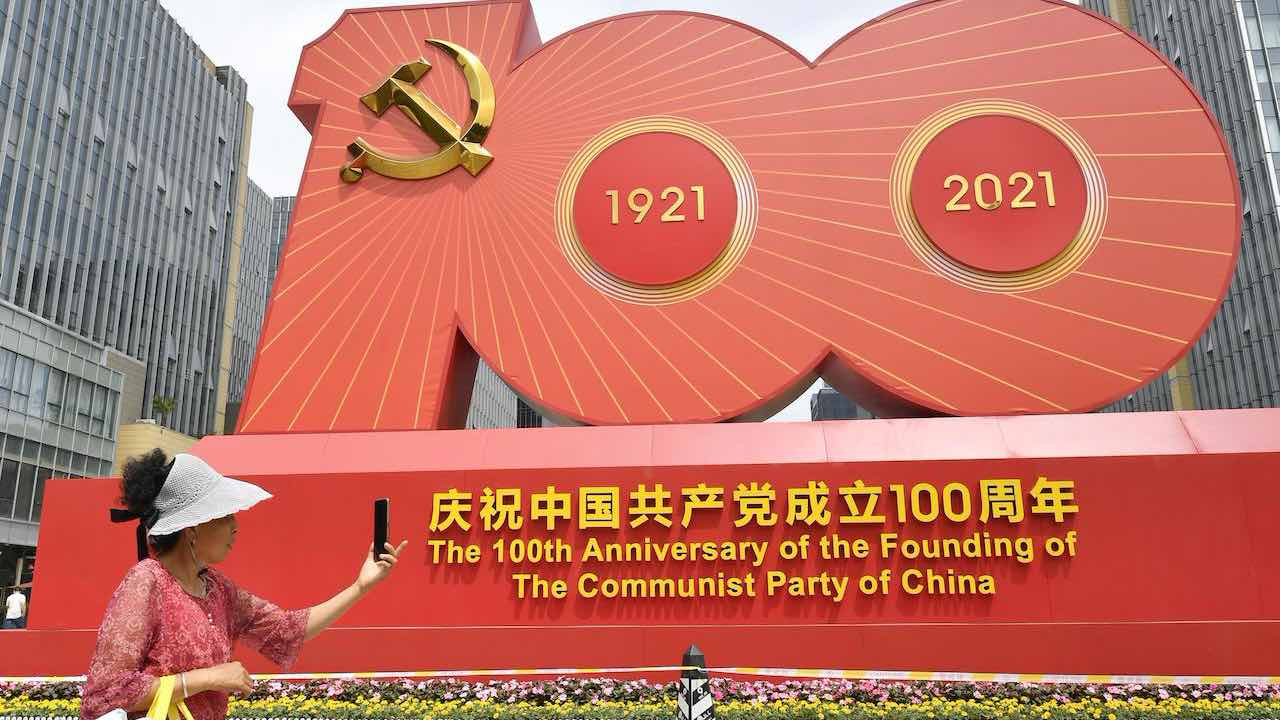 Photo: taken on June 30, 2021, shows an exhibit on display in Beijing to celebrate the 100th anniversary of the founding of the Chinese Communist Party on July 1. Credit: Kyodo