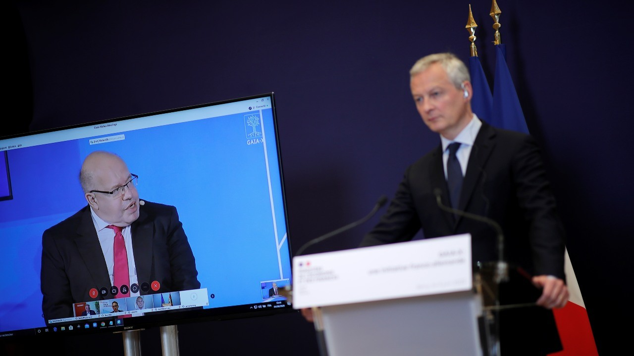Photo: French Finance Minister Bruno Le Maire attends a joint videoconference with German Economy Minister Peter Altmaier about a European data infrastructure project called Gaia-X, at the Bercy Finance Ministry in Paris, France, June 4, 2020. Credit: REUTERS/Benoit Tessier