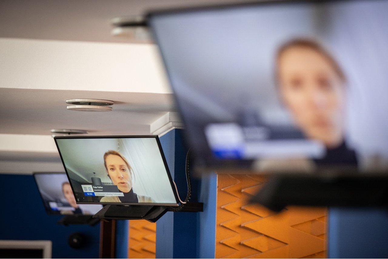 Photo: 16.03.2021, Tallinn. The corona-positive Estonian Prime Minister Kaja Kallas made a presentation in the Riigikogu (Estonian parliament) via a video bridge. Credit: Madis Veltman, Postimees