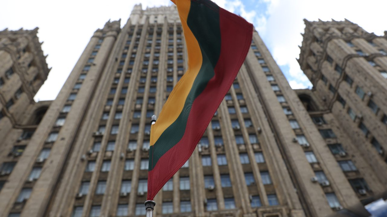 Photo: MOSCOW, RUSSIA – APRIL 28, 2021: A Lithuanian national flag on a car of Lithuania's Ambassador to Russia Eitvydas Bajarunas parked by the Russian Foreign Ministry headquarters. Credit: Vladimir Gerdo/TASS.