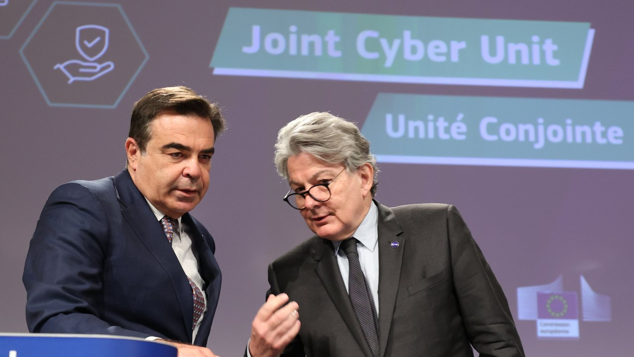 Photo: Belgium, Brussels, 2021/06/23. Press conference by European Commission vice-president in charge for promoting our European way of life Margaritis SCHINAS and EU commissioner for internal market Thierry BRETON on security and cybersecurity strategy. Credit: Photograph by Dursun Aydemir / Pool / Hans Lucas.