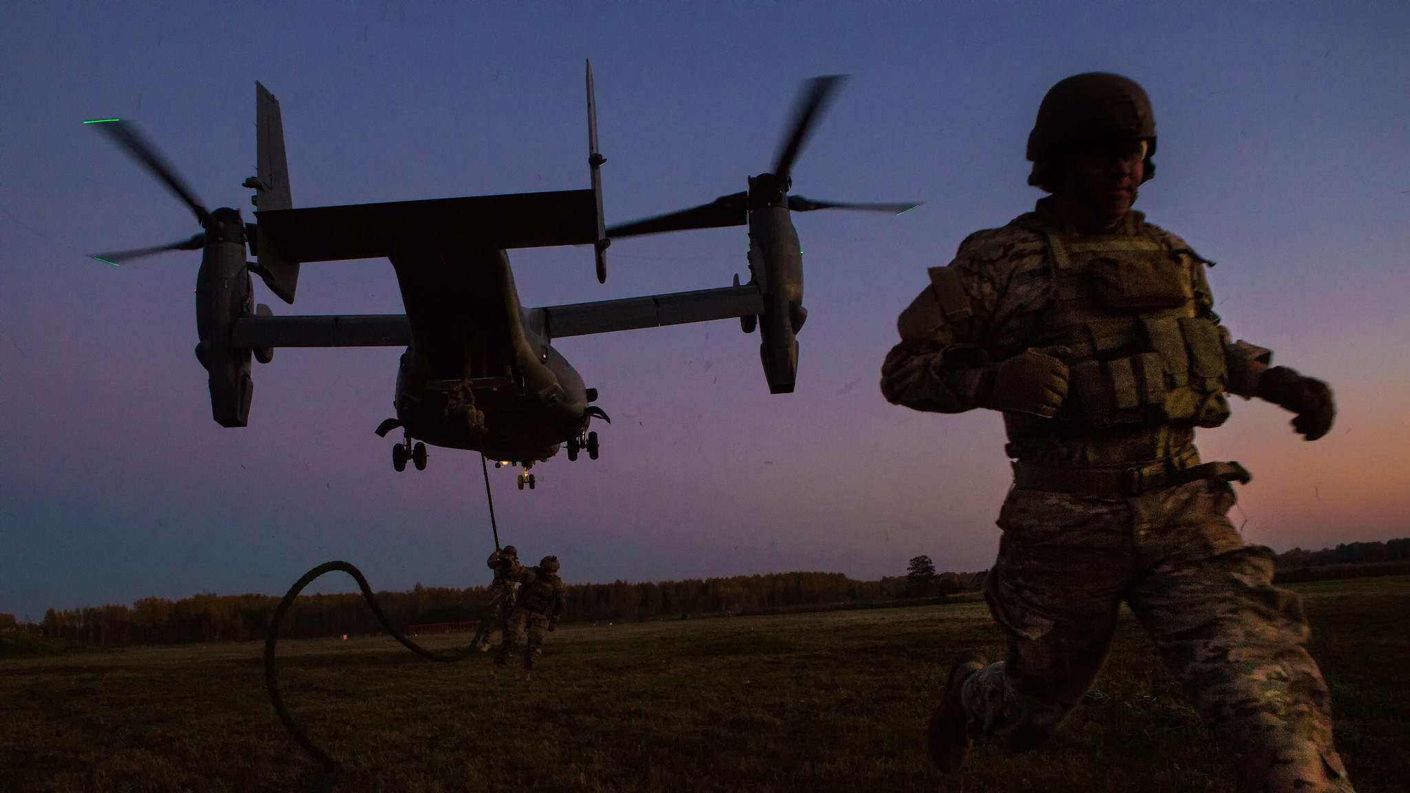 Photo: U.S. Special Forces fast-rope from Ospreys in Latvia. Credit: NATO