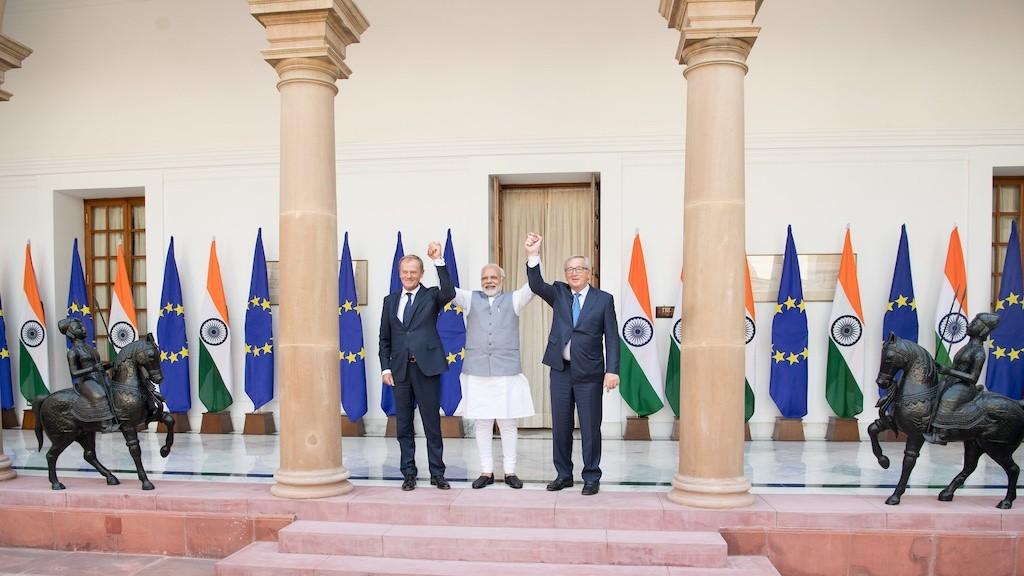 Photo: Jean-Claude Juncker, Donald Tusk, Narendra Modi. Credit: European Council President.