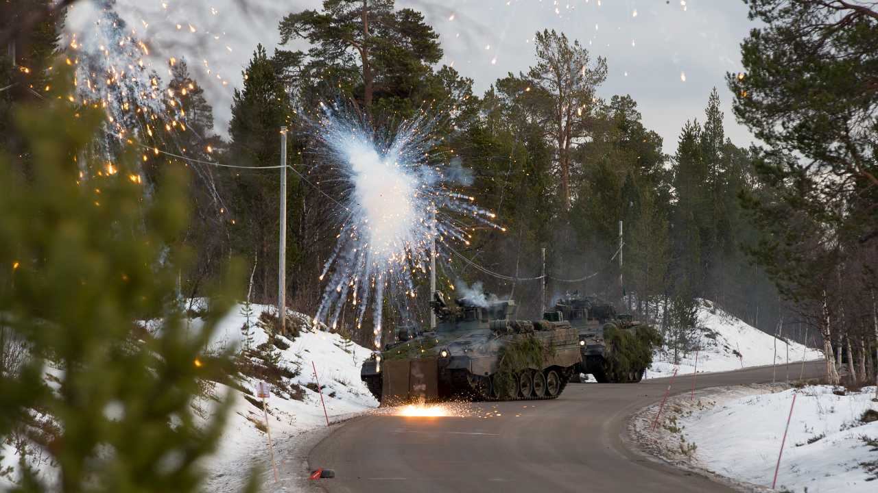 Photo: An armored platoon of the German Battlegroup of the Very High Readiness Joint Task Force Brigade attacks with infantry combat vehicles Marder from the Norwegian city of Drevsjo towards Oversjodalen. NATO exercise Trident Juncture, in Norway. Credit: SGM Marco Dorow, German Army