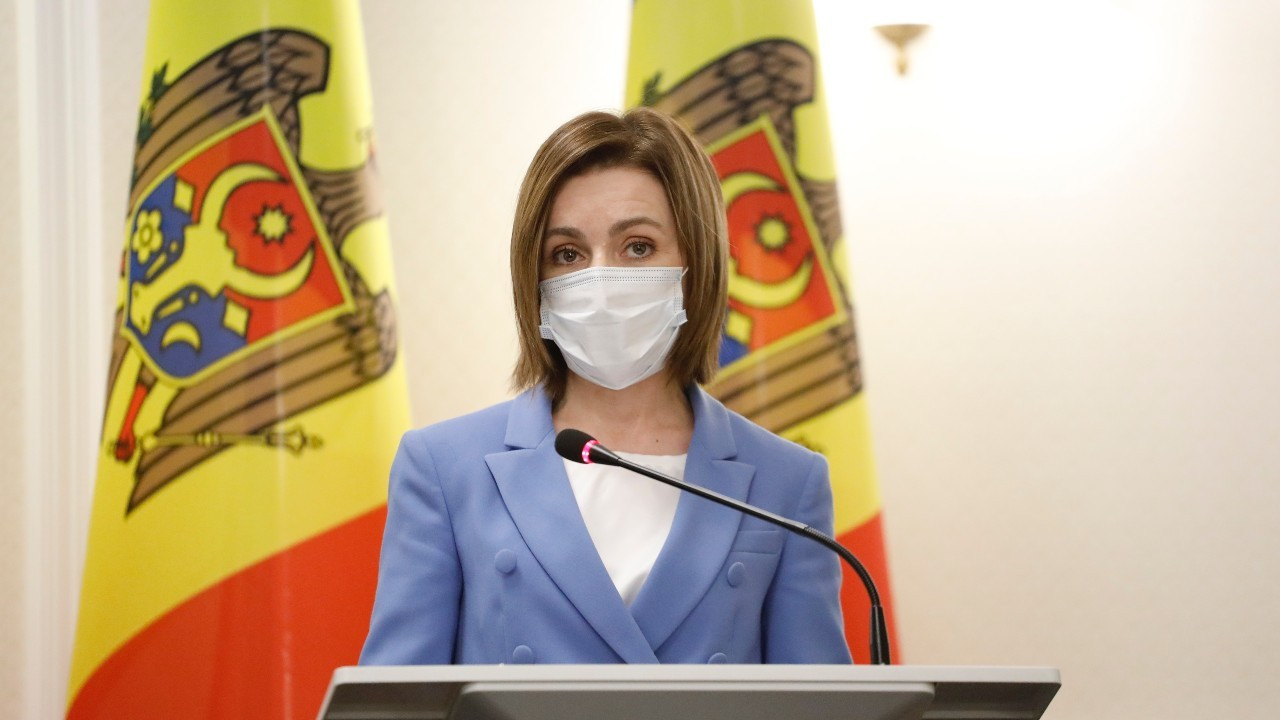 Photo: Maia Sandu addresses a press conference in Chisinau, February 28, 2021. Credit: European Council
