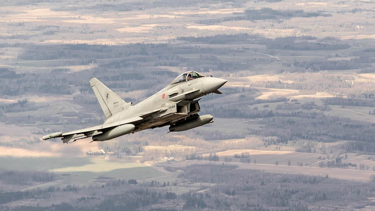 Photo: NATO and partner air forces take part in exercise Ramstein Alloy 21. Italian Air Force Eurofighter Typhoon EF2000 in flight. A NATO air force exercise, Ramstein Alloy 21, has taken place in the Baltic states. NATO members Germany, Italy and Poland trained with fighter jets from NATO partners Finland and Sweden. Credit: NATO