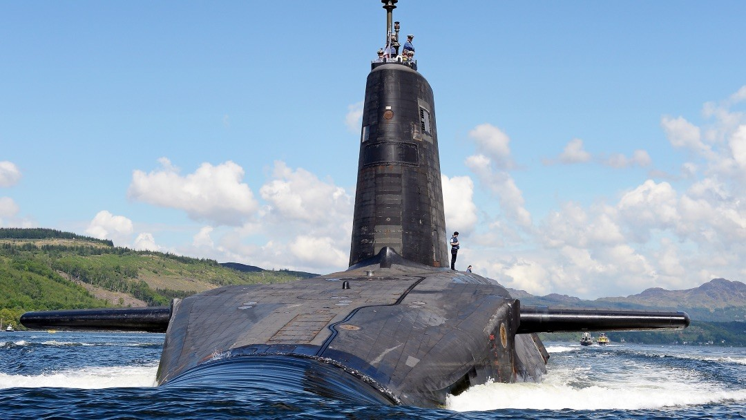 Image: Royal Navy submarine HMS Victorious departs HMNB Clyde under the Scottish summer sunshine to conduct continuation training. rganization: ROYAL NAVY Object Name: NE130061020 (1) Category: MOD Credit: UK Ministry of Defence.