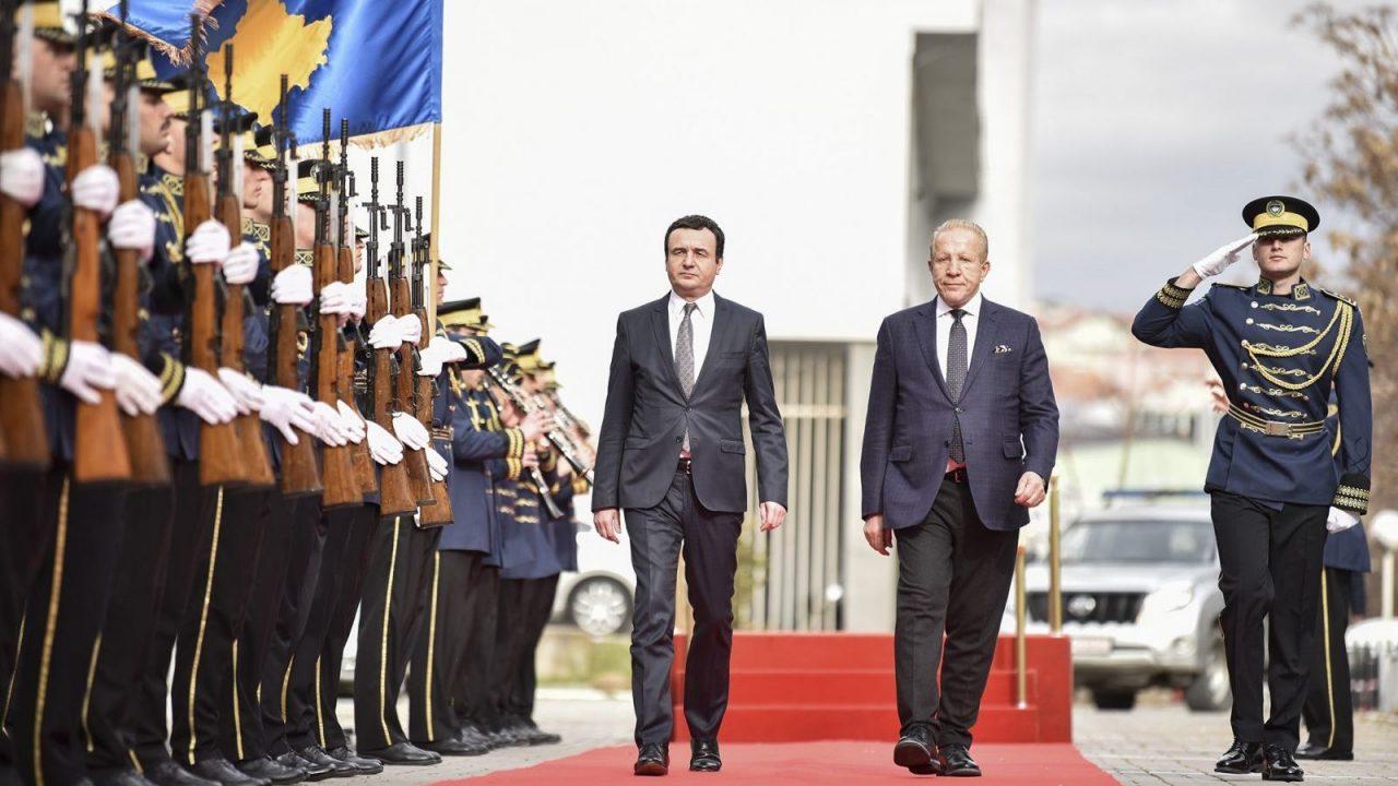 Prime Minister of Kosovo Albin Kurti during handover ceremony of Government