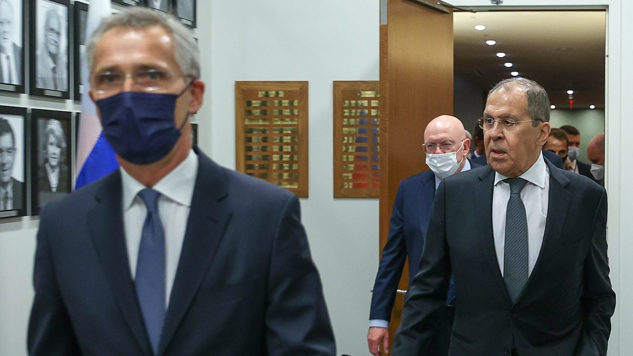 Photo: WASHINGTON D.C., UNITED STATES - SEPTEMBER 23, 2021: NATO Secretary General Jens Stoltenberg (L) and Russia's Minister of Foreign Affairs Sergei Lavrov (R) during a meeting. Credit: Russian Ministry of Foreign Affairs/TASS.