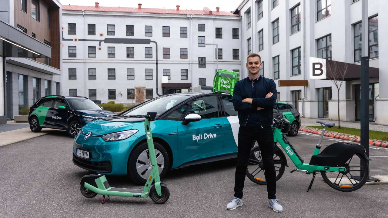 Photo: Bolt CEO Markus Villig with Bolt products. Credit: Bolt