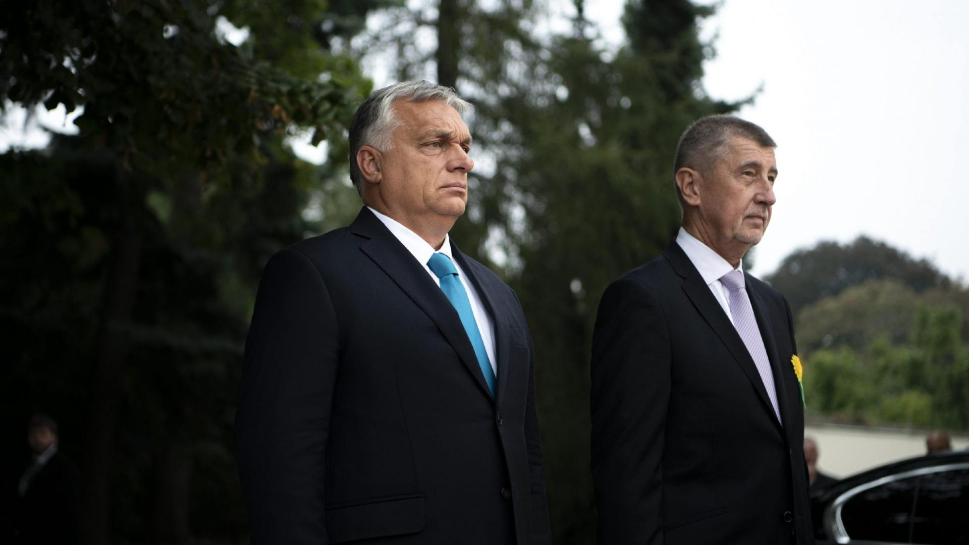 Prime Minister Viktor Orban and Czech Prime Minister Andrej Babis hold a press conference at the Ústí nad Labem in northern Bohemia on September 29, 2021. Photograph: MTI/Prime Minister's Press Office/Benko Vivien Cher