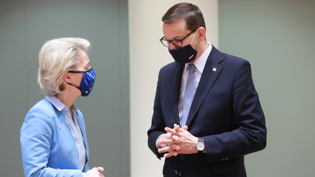 Polish Prime Minister Mateusz Morawiecki and European Commission President Ursula von der Leyen  at the special meeting of the European Council, 24-25 May 2021. Credit: Etienne Ansotte/European Commission